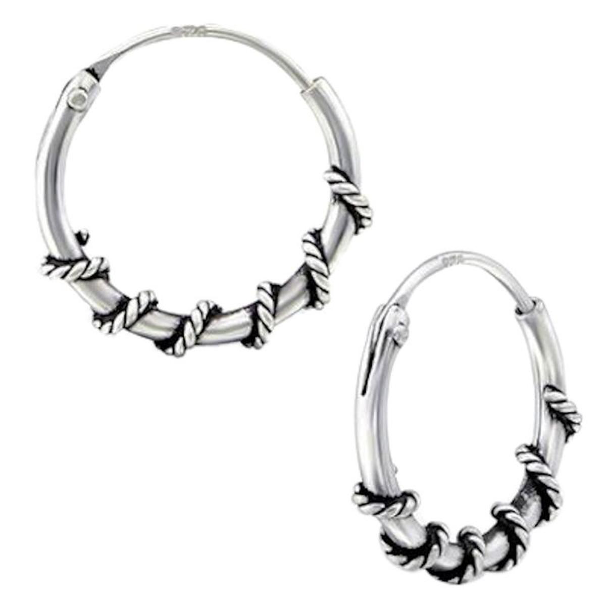 Boucles d'oreilles Créoles Bali 12 mm Argent 925