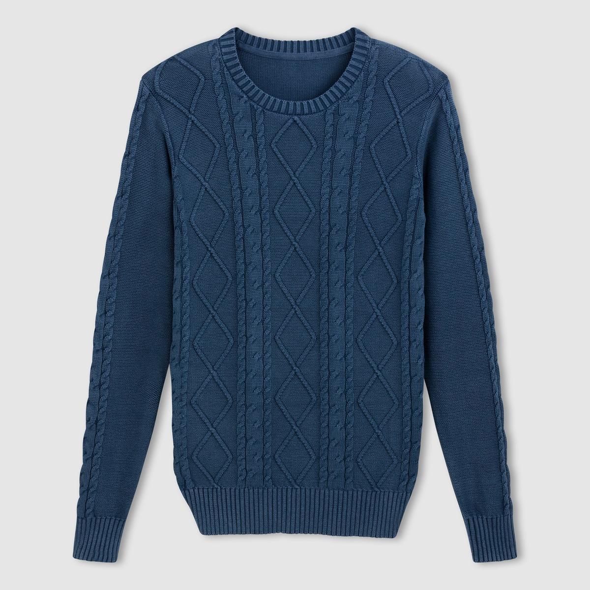 Пуловер с витым узором и круглым вырезом