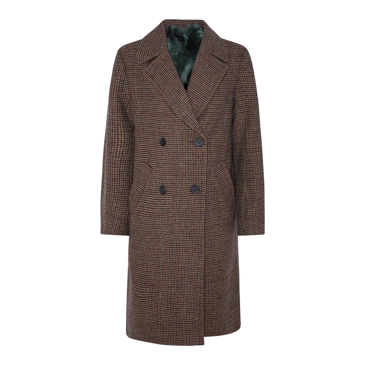 Abrigo largo recto con doble hilera de abotonado