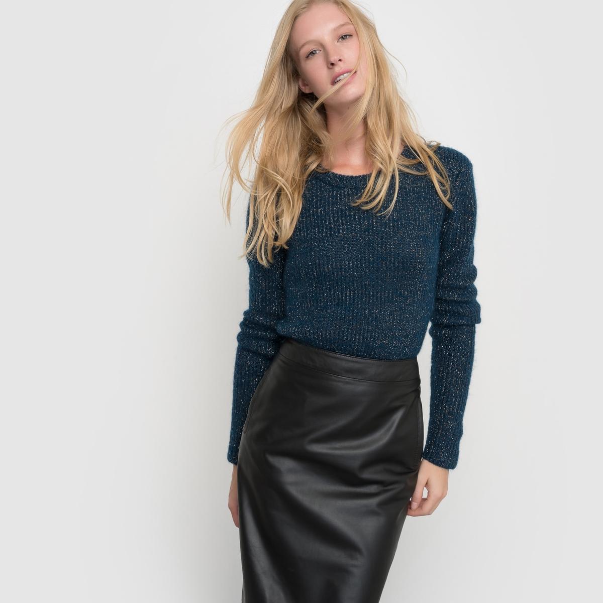 Пуловер в рубчик, с длинными рукавами и круглым вырезомПуловер с длинными рукавами atelier R. Пуловер в рубчик с отделкой металлизированными волокнами. Отделка выреза в рубчик. Грубая отделка низа и манжет.Состав и описание:Длина: 65 смМатериал: 39% полиамида, 30% шерсти, 21% мохера, 7% полиэстера, 3% металлизированных волокон Марка: atelier RУход- Ручная стирка.Сразу после стирки расправить- Сушить в расправленном виде.Гладить при умеренной температуре<br><br>Цвет: серый меланж<br>Размер: 34/36 (FR) - 40/42 (RUS).42/44 (FR) - 48/50 (RUS).38/40 (FR) - 44/46 (RUS)