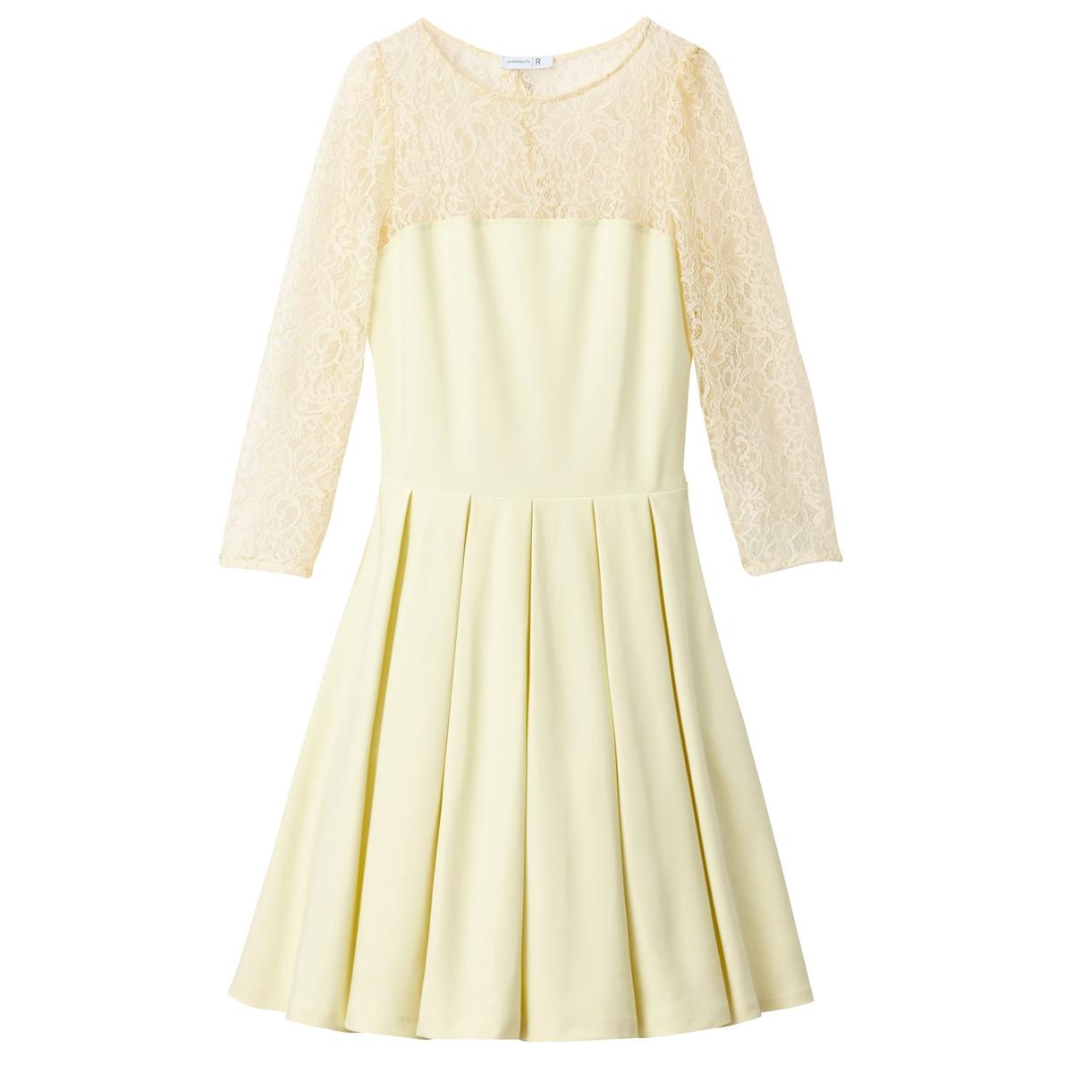 Платье LaRedoute Расклешенное с нижней юбкой и спинкой из кружева 42 (FR) - 48 (RUS) желтый платье la redoute короткое расклешенное в горошек с ажурными бретелями 42 fr 48 rus синий