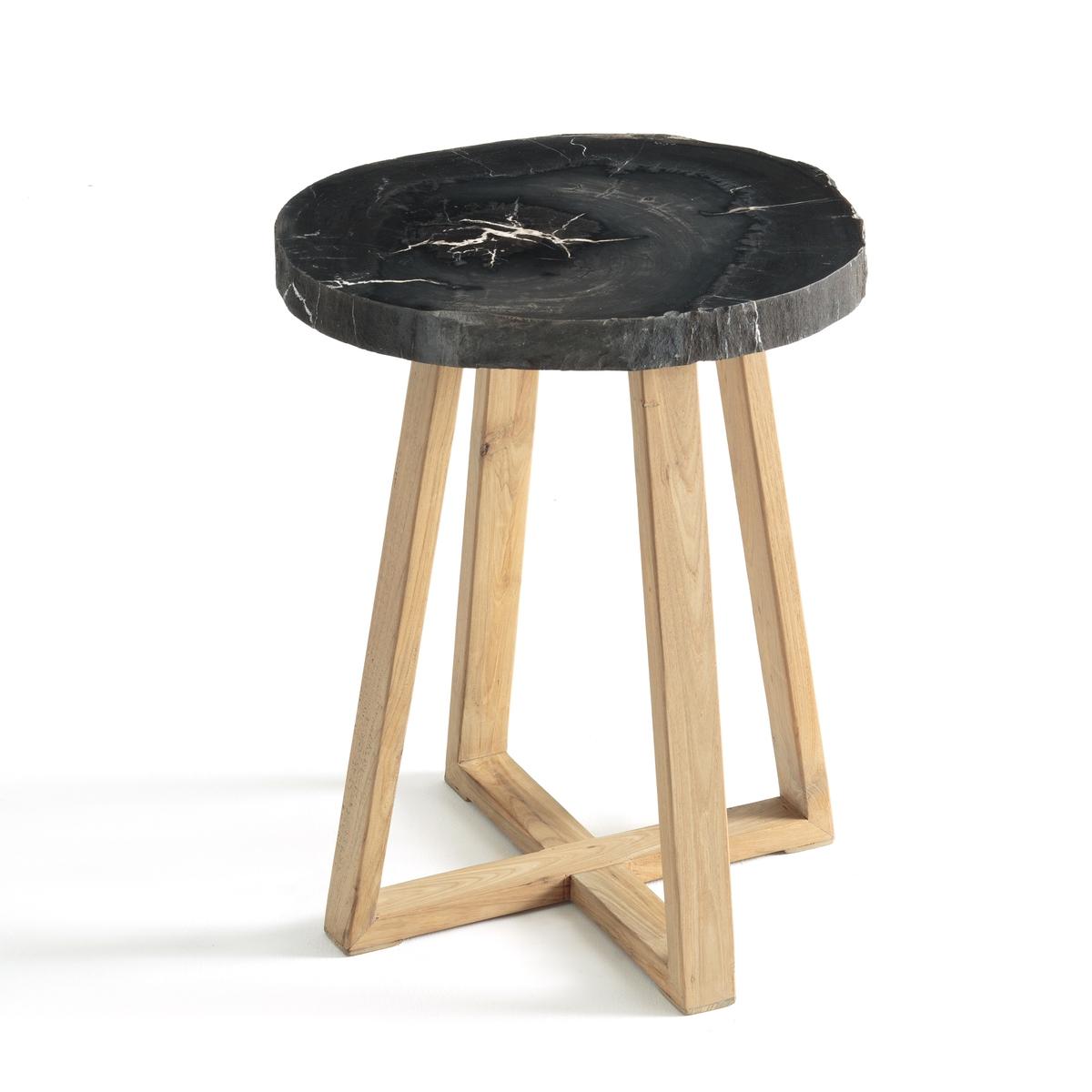 Круглый столик на одной ножке из окаменелого дерева Apiti