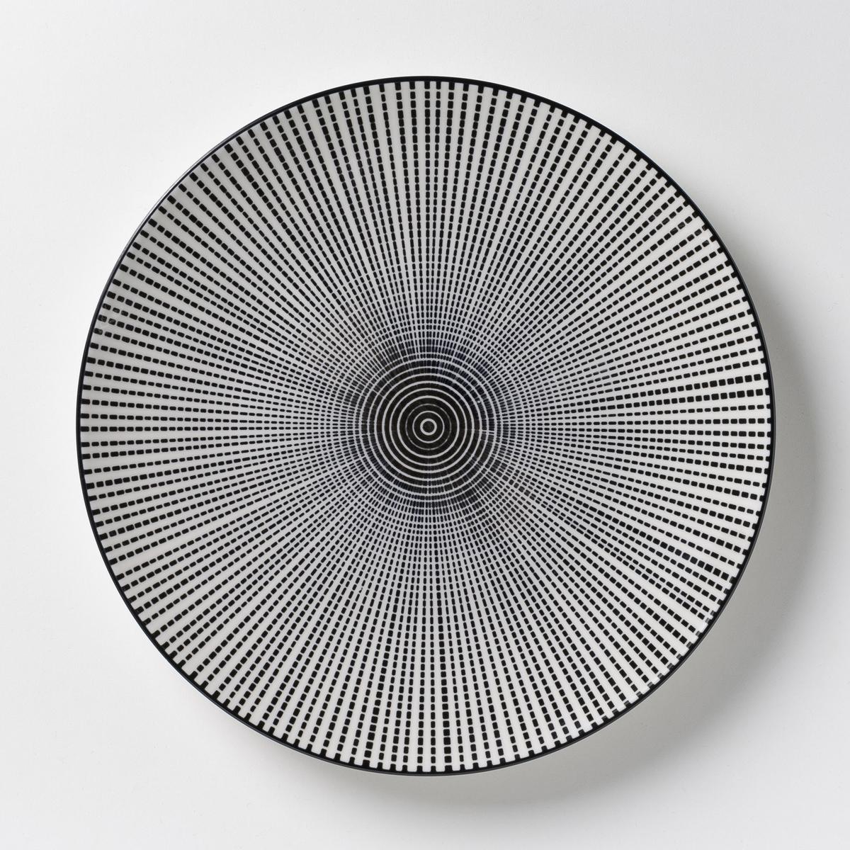 4 тарелки мелкие фарфоровые Shigoni<br><br>Цвет: черный + белый