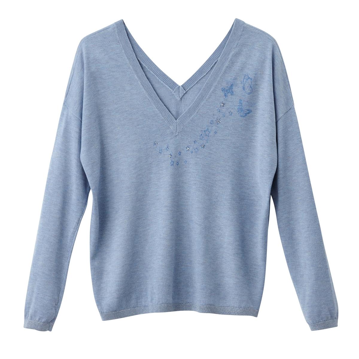 Пуловер из тонкого трикотажа с разрезом на круглом вырезеОписание:Детали •  Длинные рукава •  Круглый вырез с разрезом •  Тонкий трикотаж Состав и уход •  15% шерсти, 22% ацетата, 28% полиамида, 35% полиэстера •  Следуйте советам по уходу, указанным на этикетке<br><br>Цвет: синий<br>Размер: 2(M)