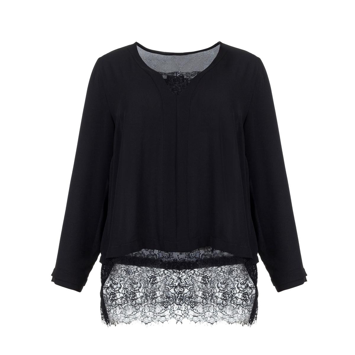 БлузкаДлинная блузка с женственным украшением из кружева снизу . Длинные рукава.  V-образный вырез с кружевом<br><br>Цвет: черный<br>Размер: 44/46 (FR) - 50/52 (RUS)