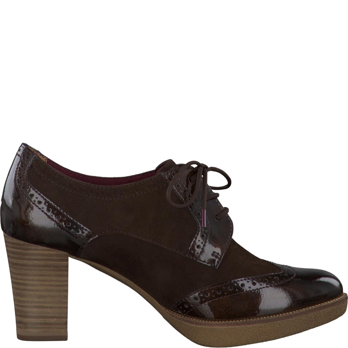 Ботинки-дерби кожаныеДетали  •  Ботинки-дерби •  Высота каблука : 7,5 см •  Застежка : шнуровка •  Круглый мысок •  ЛакированныеСостав и уход  •  Верх 100% козья кожа •  Подкладка 50% кожи, 50% текстиля •  Стелька 100% кожа<br><br>Цвет: темный каштан