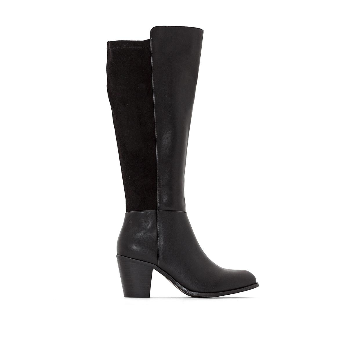 цена на Сапоги La Redoute Из двух материалов на каблуке для широкой стопы размеры - 44 черный