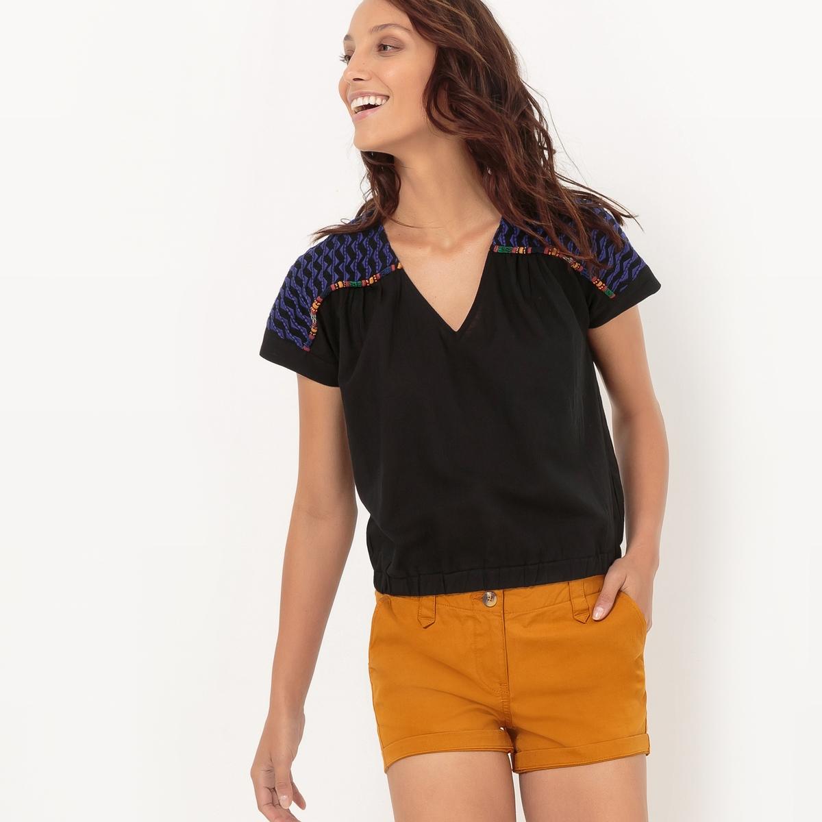 Блузка эластичная с вышивкой блузки linse блузка