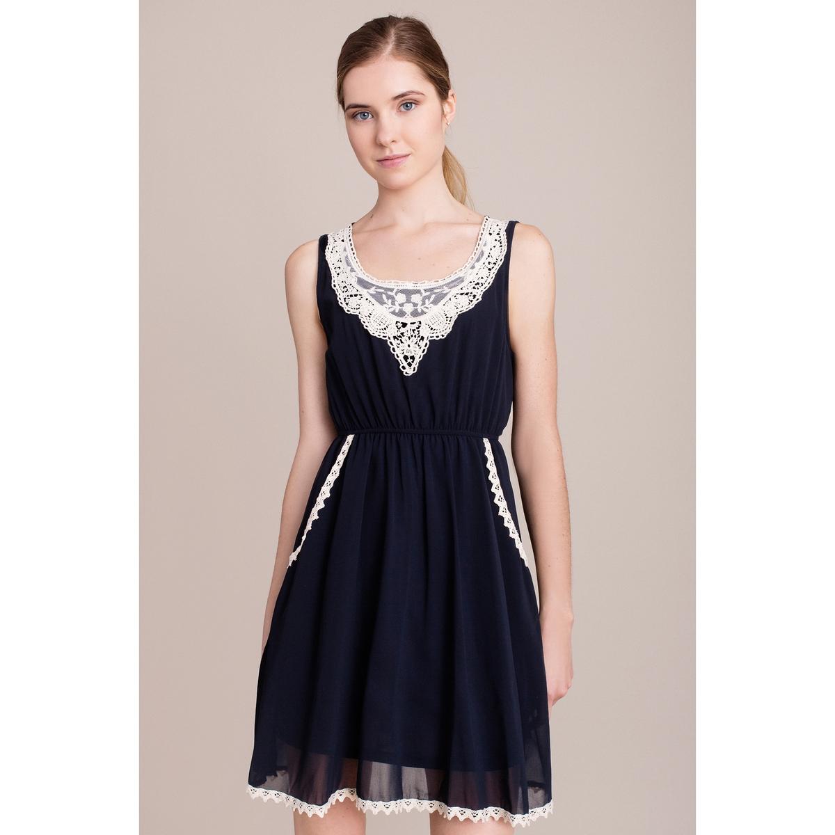 Платье без рукавовПлатье MIGLE+ME. Без рукавов.Характеристики и описание    Материал         100% полиэстера    Марка    MIGLE+ME<br><br>Цвет: темно-синий<br>Размер: L