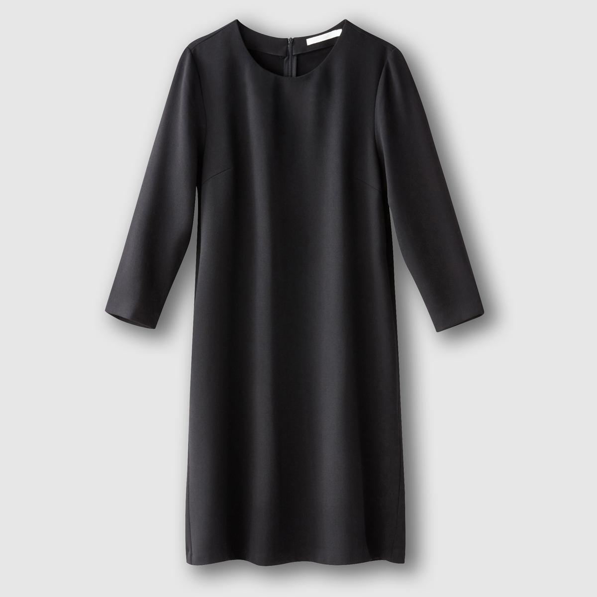 Платье с рукавами 3/4Состав и описаниеМарка:      SEE U SOON.     Материал:     95% полиэстера, 5% эластана.   Подкладка:   100% хлопка.          УходМашинная стирка при 30°C     с вещами схожих цветов.<br><br>Цвет: черный<br>Размер: L