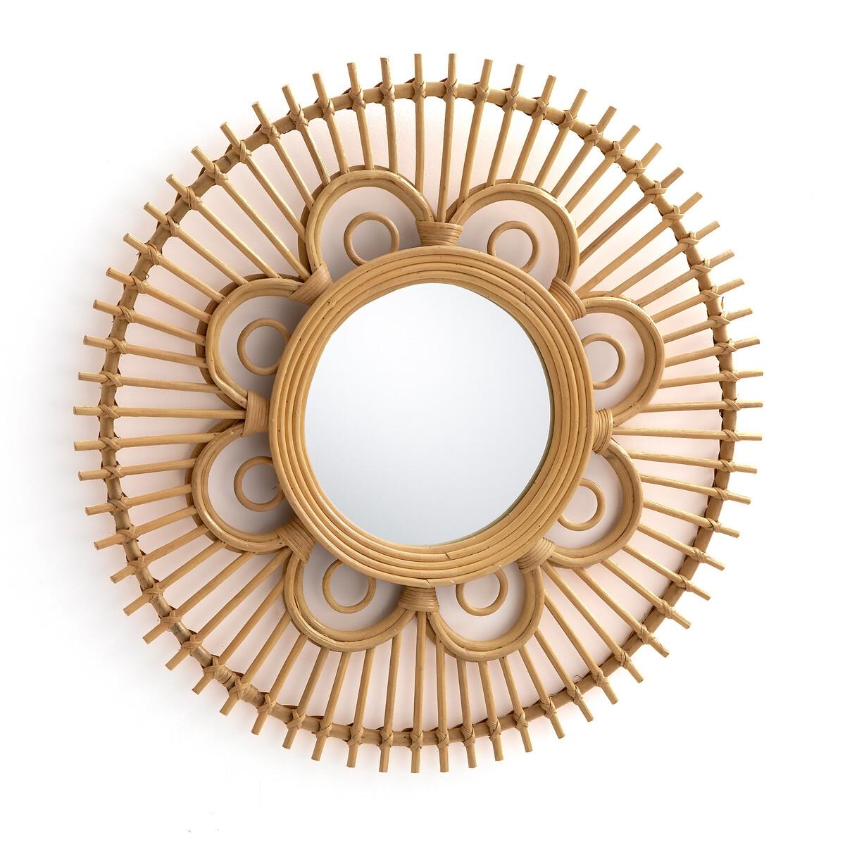 Зеркало LaRedoute Из ротанга в форме цветка 65 см Nogu единый размер бежевый