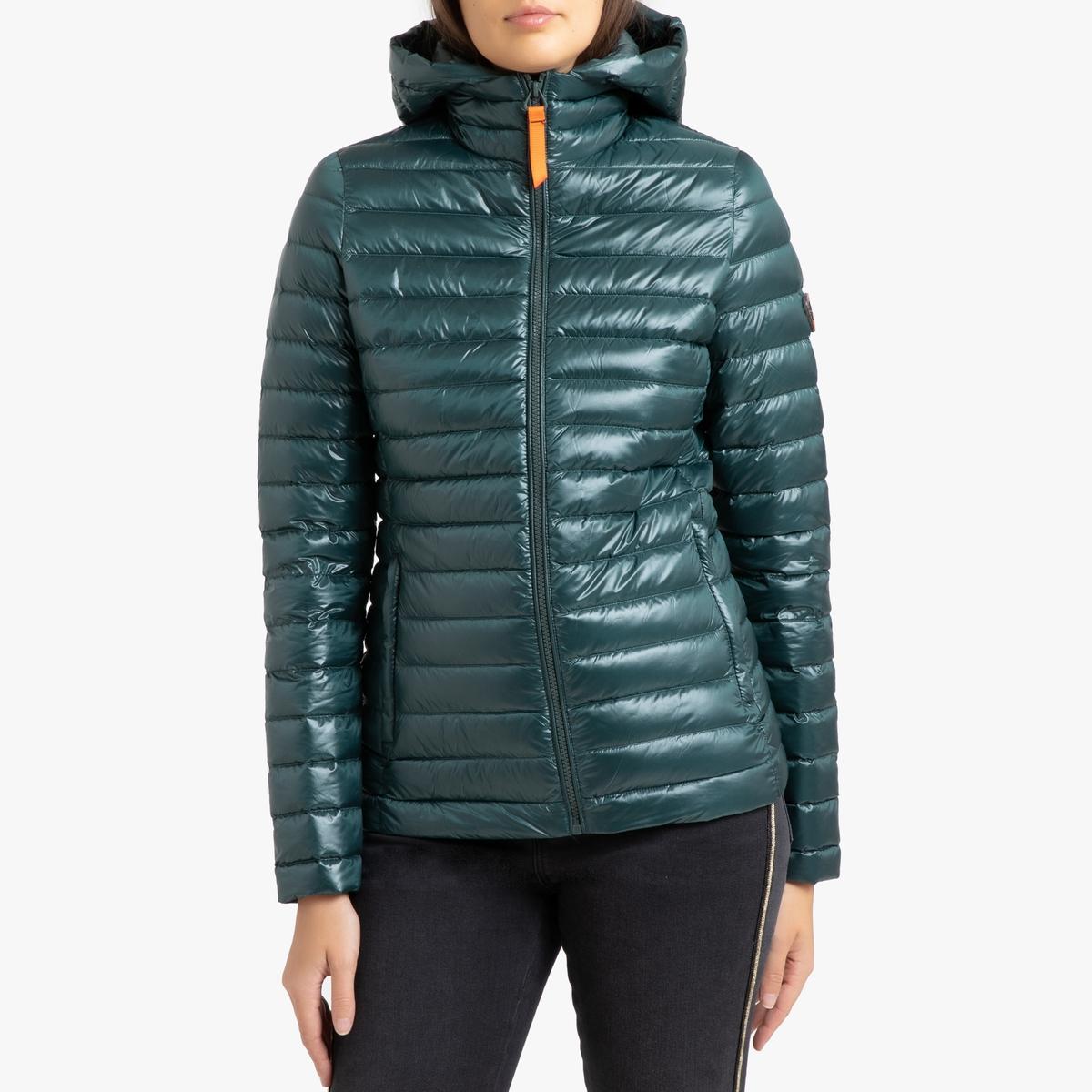 цена Куртка La Redoute Стеганая короткая с капюшоном FRANCINE SHINY 3(L) зеленый в интернет-магазинах