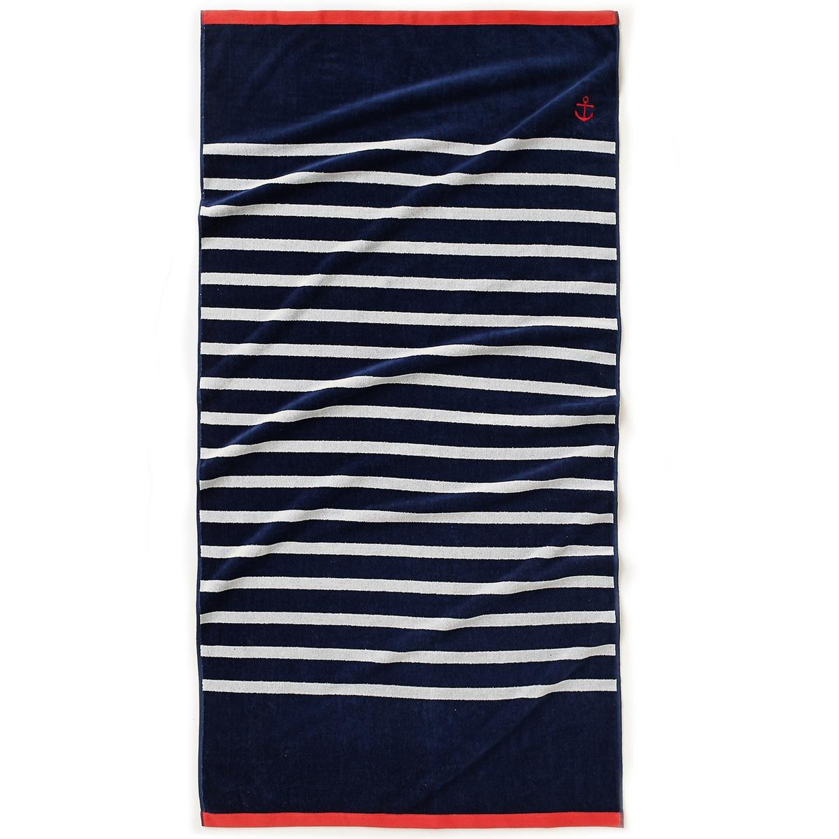 Полотенце пляжное в морском стиле, 100% хлопкаПолотенце пляжное в морском стиле. Голубой, белый, красный - пляжное полотенце демонстрирует свои цвета, полоски и контрастную окантовку! Оно также привлекает нас своей очаровательной вышивкой якорь, прекрасным качеством и своей впитывающей способностью: 1 сторона из махрового велюра, 1 - из махровой ткани букле.Состав и описание.Материал: 100% хлопка жаккарда, 500 г/м?.Размер: 90 x 175 см.Марка: La Redoute Int?rieurs.Уход: стирать при 40°C.<br><br>Цвет: синий/ белый<br>Размер: единый размер