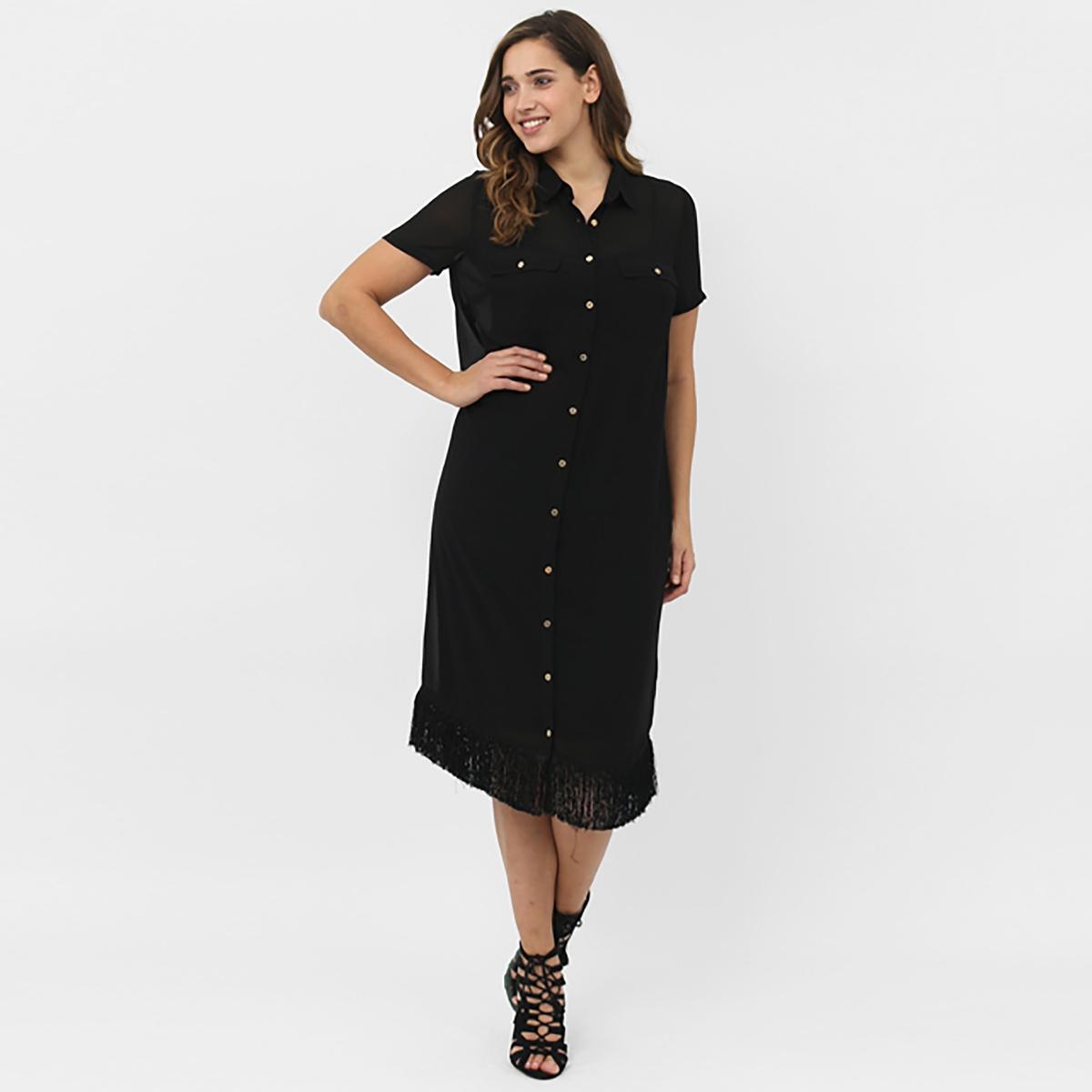 Платье с короткими рукавамиПлатье с короткими рукавами KOKO BY KOKO. Рубашечный воротник. Застёжка на пуговицы по всей длине. 2 кармана. Низ с бахромой. Длина около 101 см. 100% полиэстера<br><br>Цвет: черный<br>Размер: 48 (FR) - 54 (RUS)