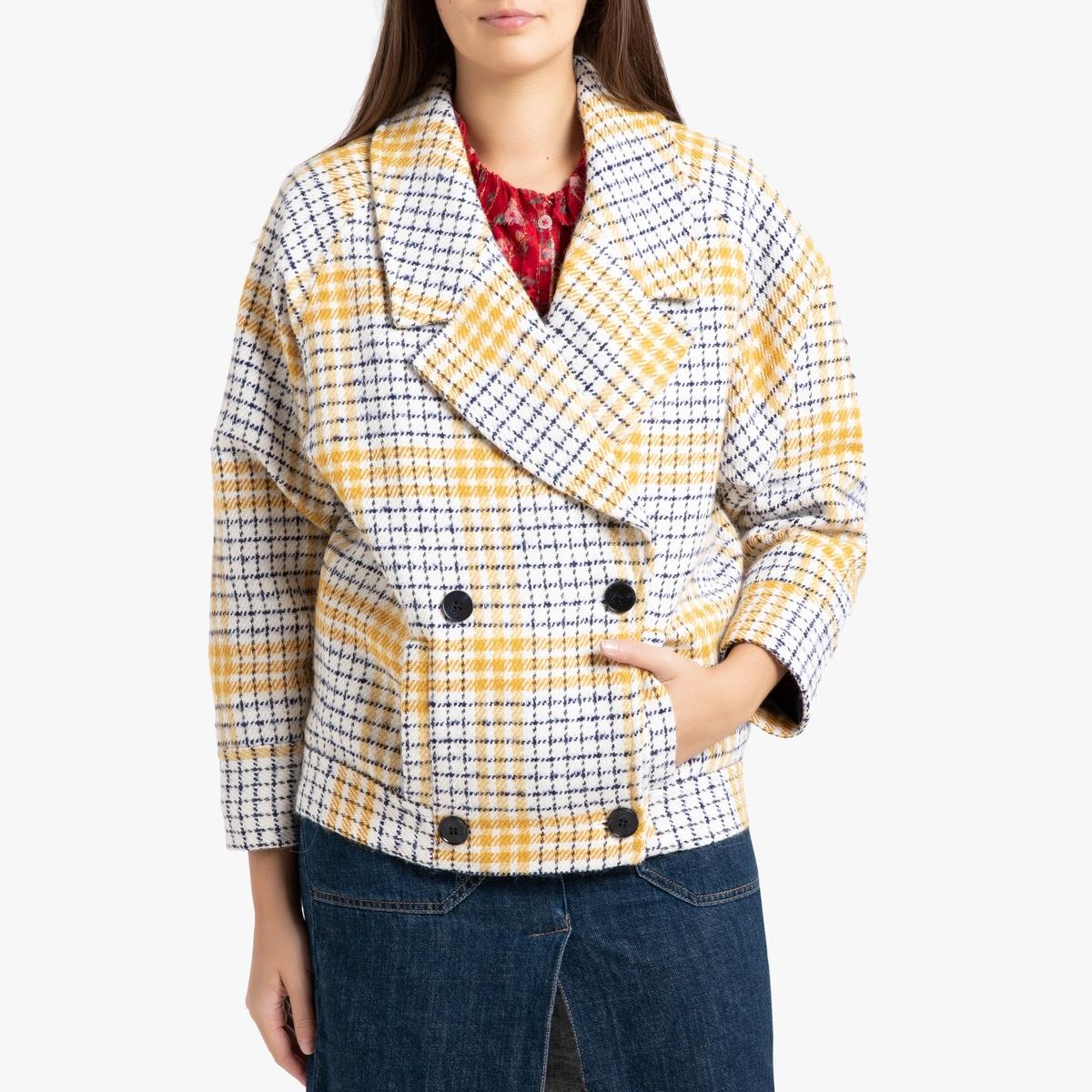 Пальто La Redoute Короткое клетчатое SHANI M желтый