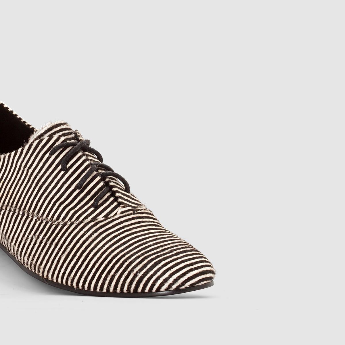 Ботинки-дерби с ворсом и узором в полоску