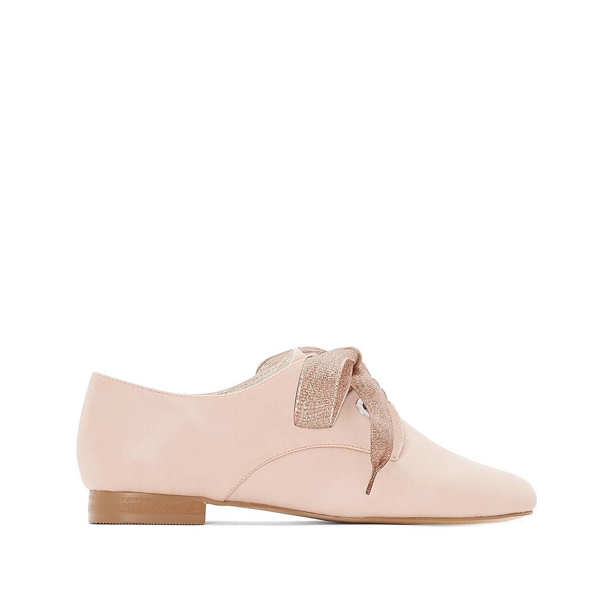 Ботинки-дерби мягкие на шнуровке в виде ленты