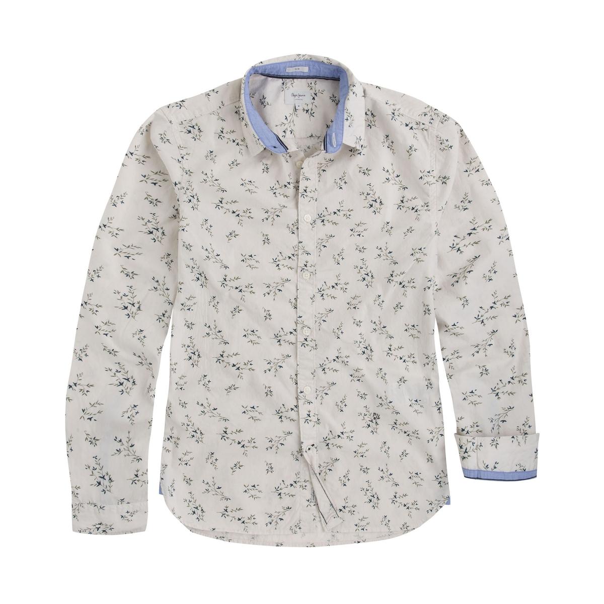 Camisa recta estampada de lino, manga larga
