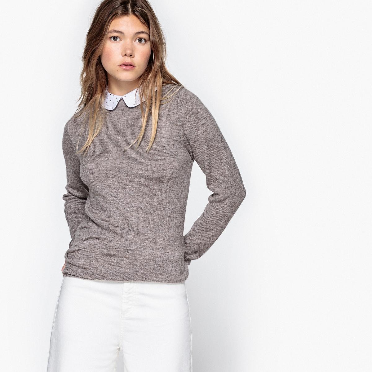 Пуловер с отложным воротником и рисунком звезды золотистого цвета
