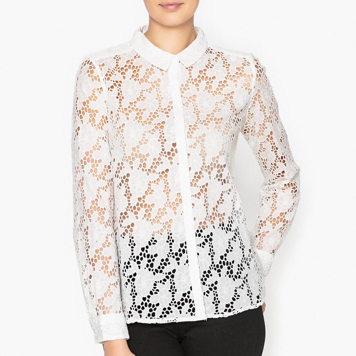 Рубашка с ажурным кружевом AUGUSTAРубашка с длинными рукавами BA&amp;SH - модель AUGUSTA из хлопкового ажурного кружеваДетали   •  Длинные рукава  •  Прямой покрой  •  Воротник-поло, рубашечный Состав и уход   •  100% хлопок  •  Следуйте советам по уходу, указанным на этикетке •  Струящийся покрой •  Манжеты на пуговицах •  Планки с пуговицами по всей длине спереди<br><br>Цвет: черный,экрю