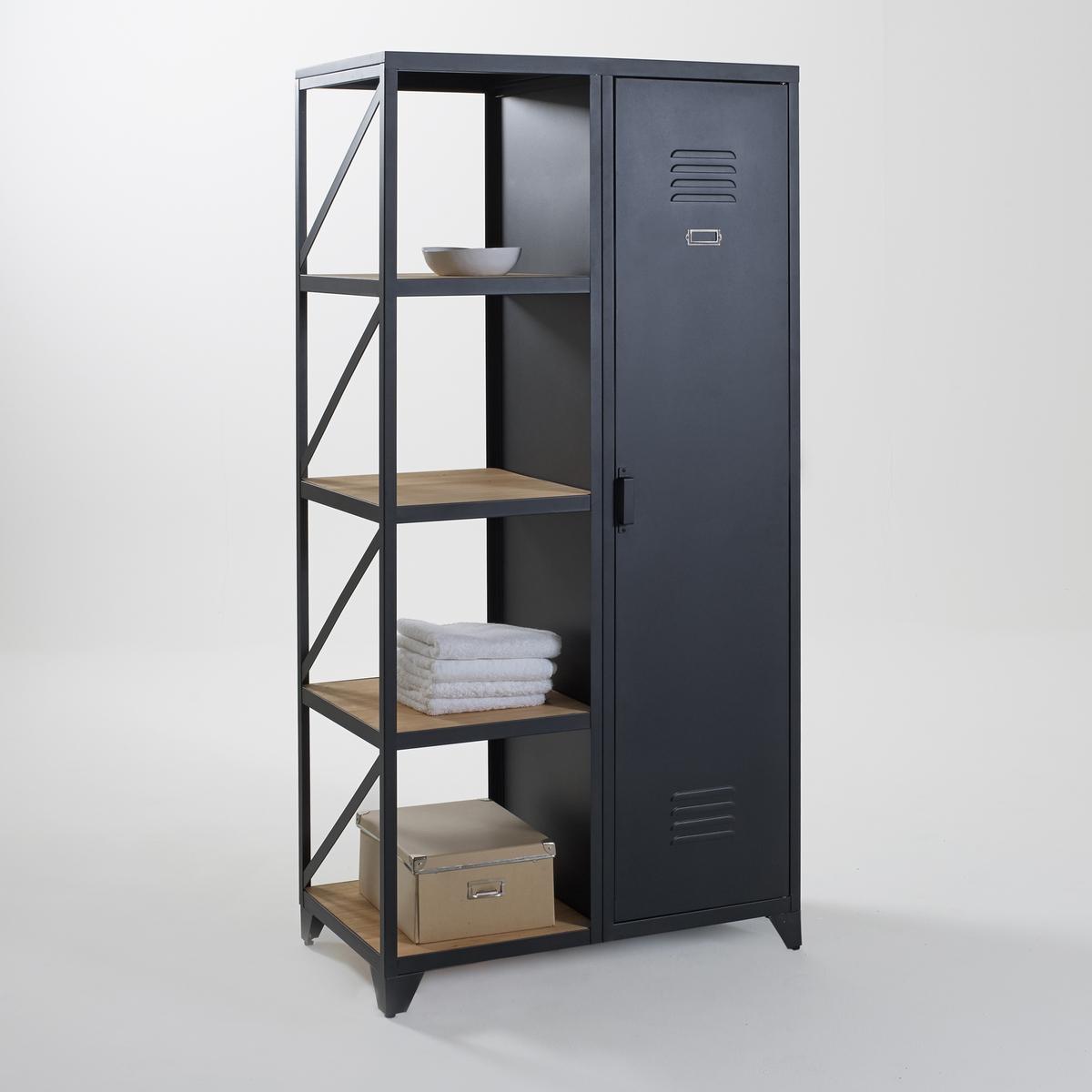 Шкаф-стеллаж La Redoute С дверцей из металла и сосны покрытой олифой Hiba единый размер черный