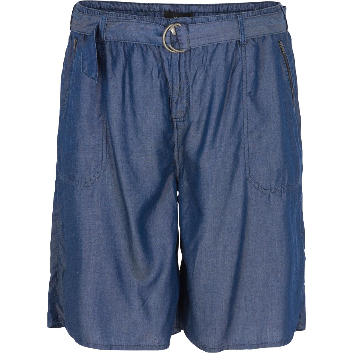 ШортыШорты ZIZZI. Эффект струящейся джинсовой ткани. Пояс на завязках. Боковые карманы. 100% тенсел<br><br>Цвет: синий джинсовый<br>Размер: 46/48 (FR) - 52/54 (RUS)