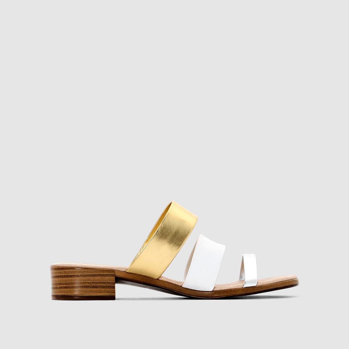 Туфли без задника кожаные двухцветныеТуфли без задника. Верх из кожи, тонкие ремешки 3 цветов . Подкладка из кожи. Стелька из кожи на пеноматериале. Подошва из эластомера. Плоский каблук.<br><br>Цвет: белый/ серебро<br>Размер: 37.39