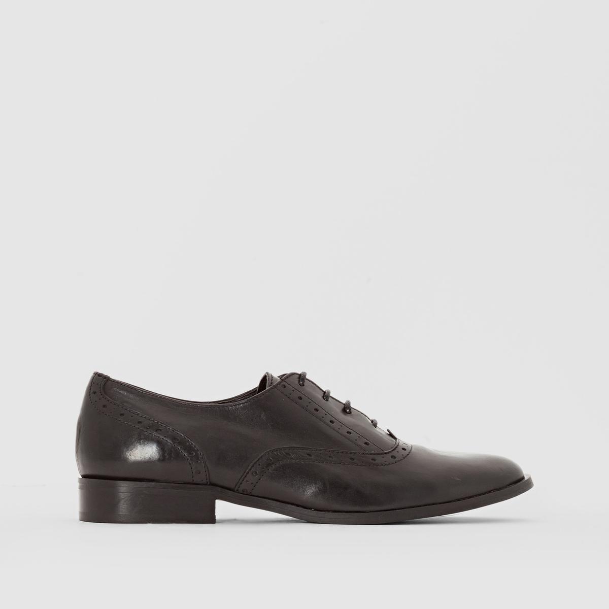 Ботинки-дерби кожаныеПреимущества: перфорированная кожа, стиль нео-ретро, эти ботинки-дерби с лёгкостью будут сочетаться с любыми вашими образами.<br><br>Цвет: черный<br>Размер: 42