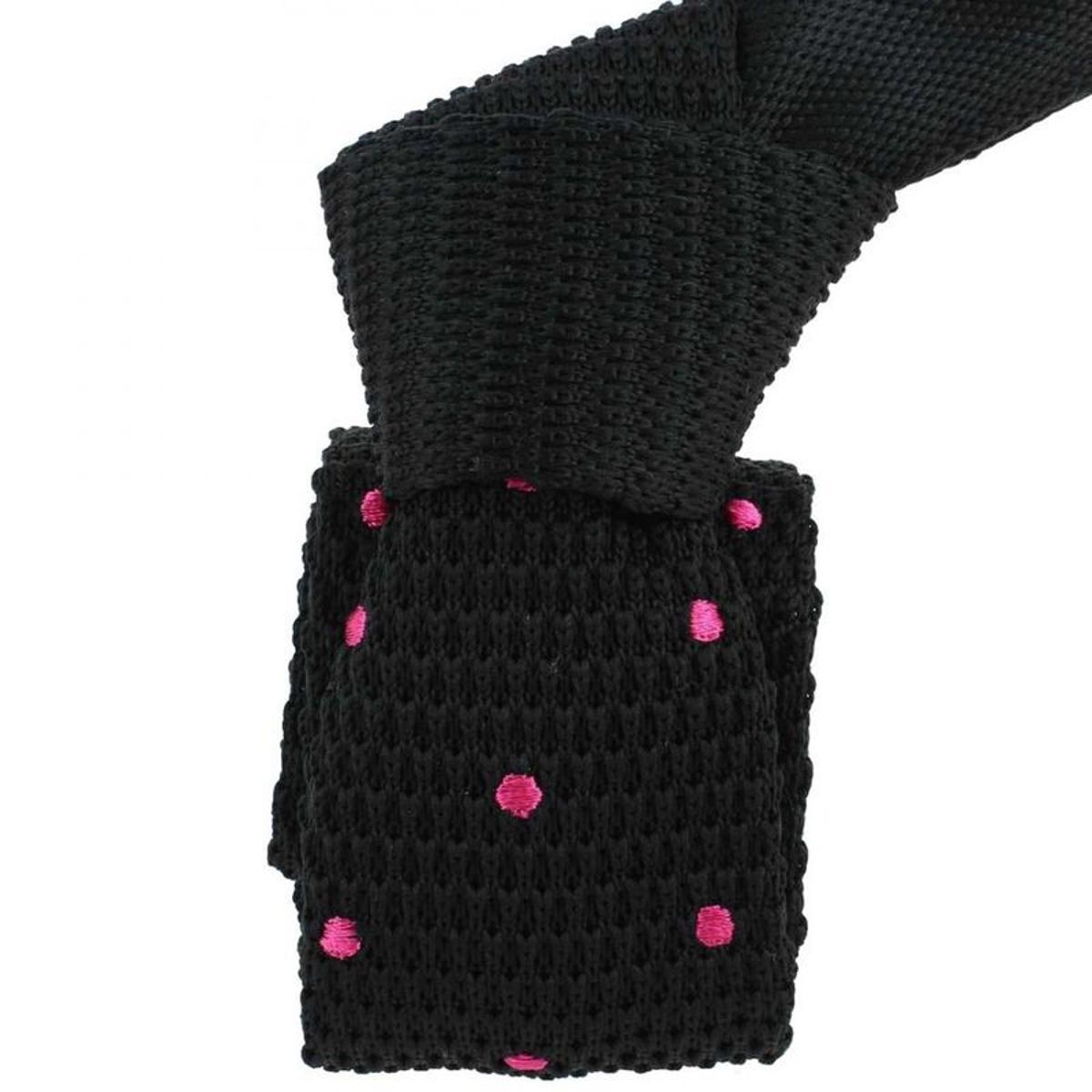 Cravate tricot  preppy a pois