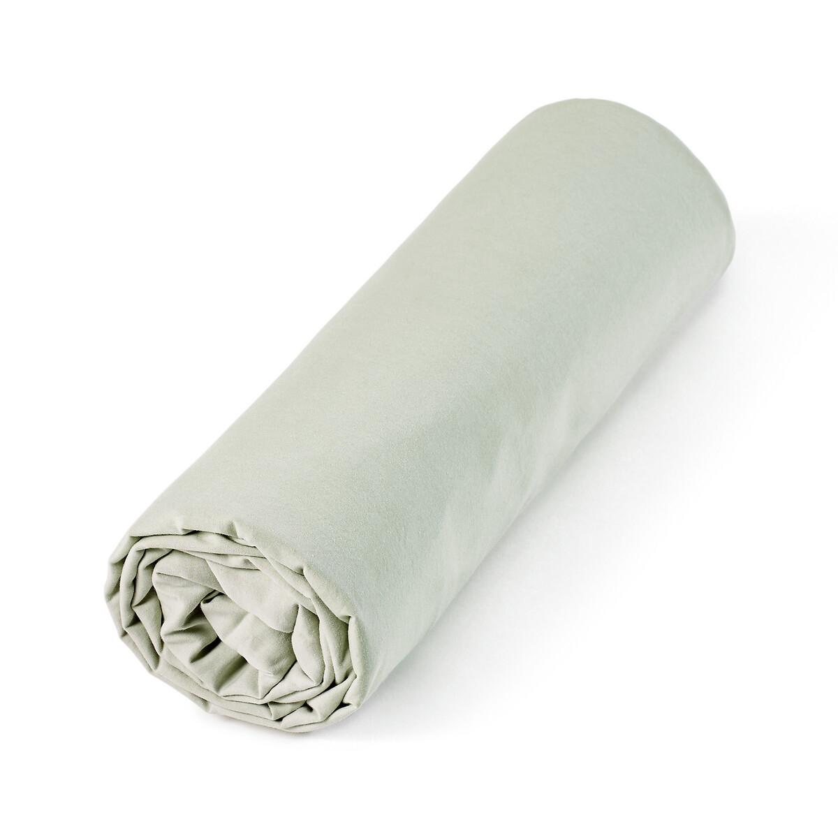 Простыня LaRedoute Натяжная из перкали из биохлопка и лиоцелла Lenza 90 x 190 см зеленый