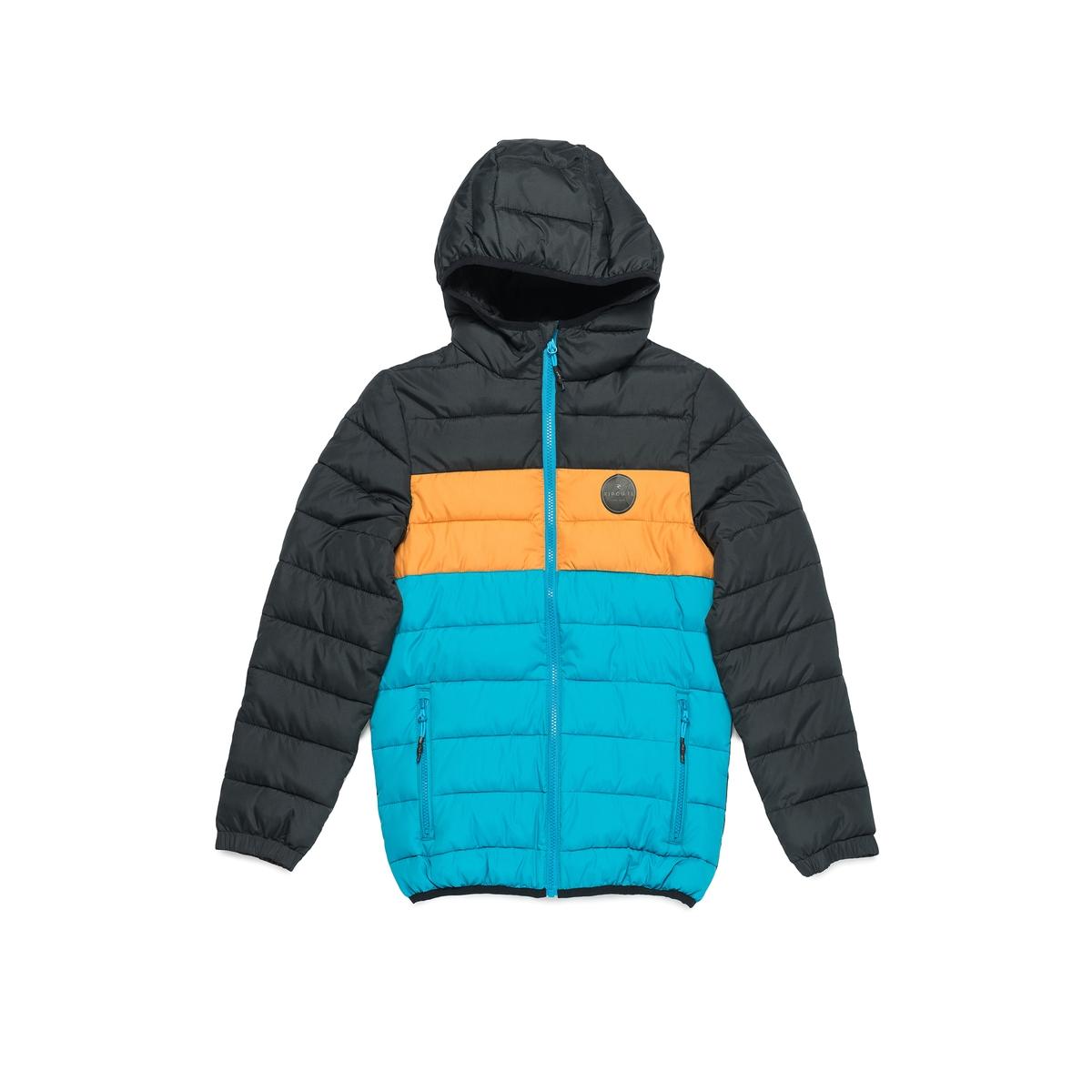 Куртка стеганая в полоску с капюшоном, 8-16 летСтеганая куртка с капюшоном RIP CURL. Стеганая куртка с капюшоном в черную, оранжевую и синюю полоску. Застежка на молнию, 2 кармана на молнии. Логотип RIP CURL на груди.Состав и описание :  Материал        100% полиэстераМарка    RIP CURL     УходСтирка, сушка и глажка с изнаночной стороны     Машинная стирка при 30 °C с вещами схожих цветов     Машинная сушка запрещена     Не гладить<br><br>Цвет: черный<br>Размер: 8 лет - 126 см