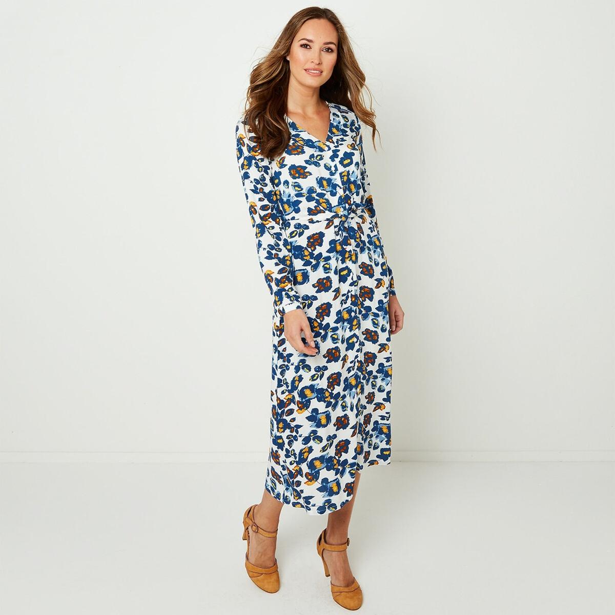 Платье-миди La Redoute С цветочным рисунком длинными рукавами и V-образным вырезом 36 (FR) - 42 (RUS) белый блузка la redoute с цветочным принтом и v образным вырезом 42 fr 48 rus красный
