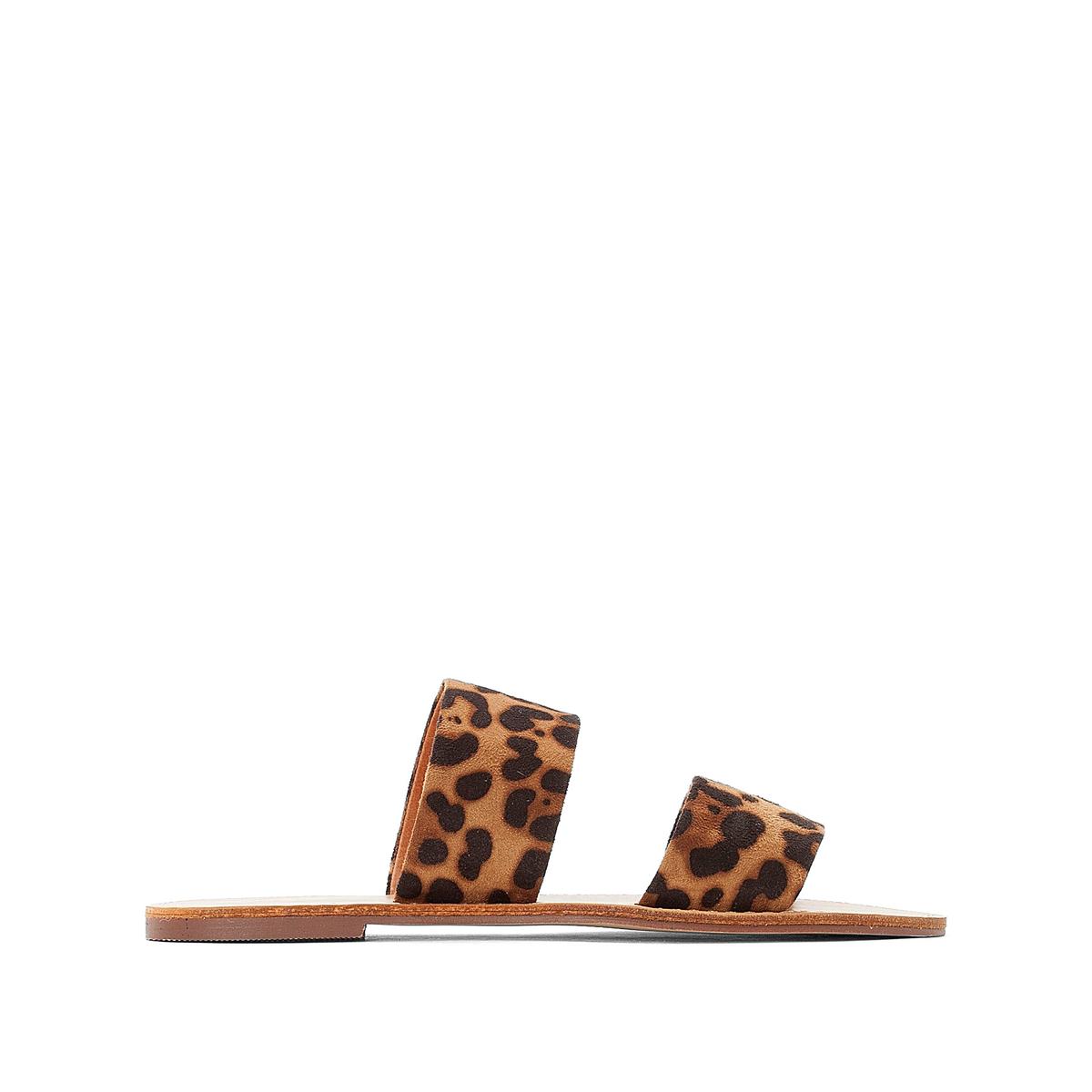 Туфли La Redoute Без задника с леопардовым рисунком на плоском каблуке 36 каштановый туфли la redoute на среднем каблуке с питоновым принтом 36 каштановый