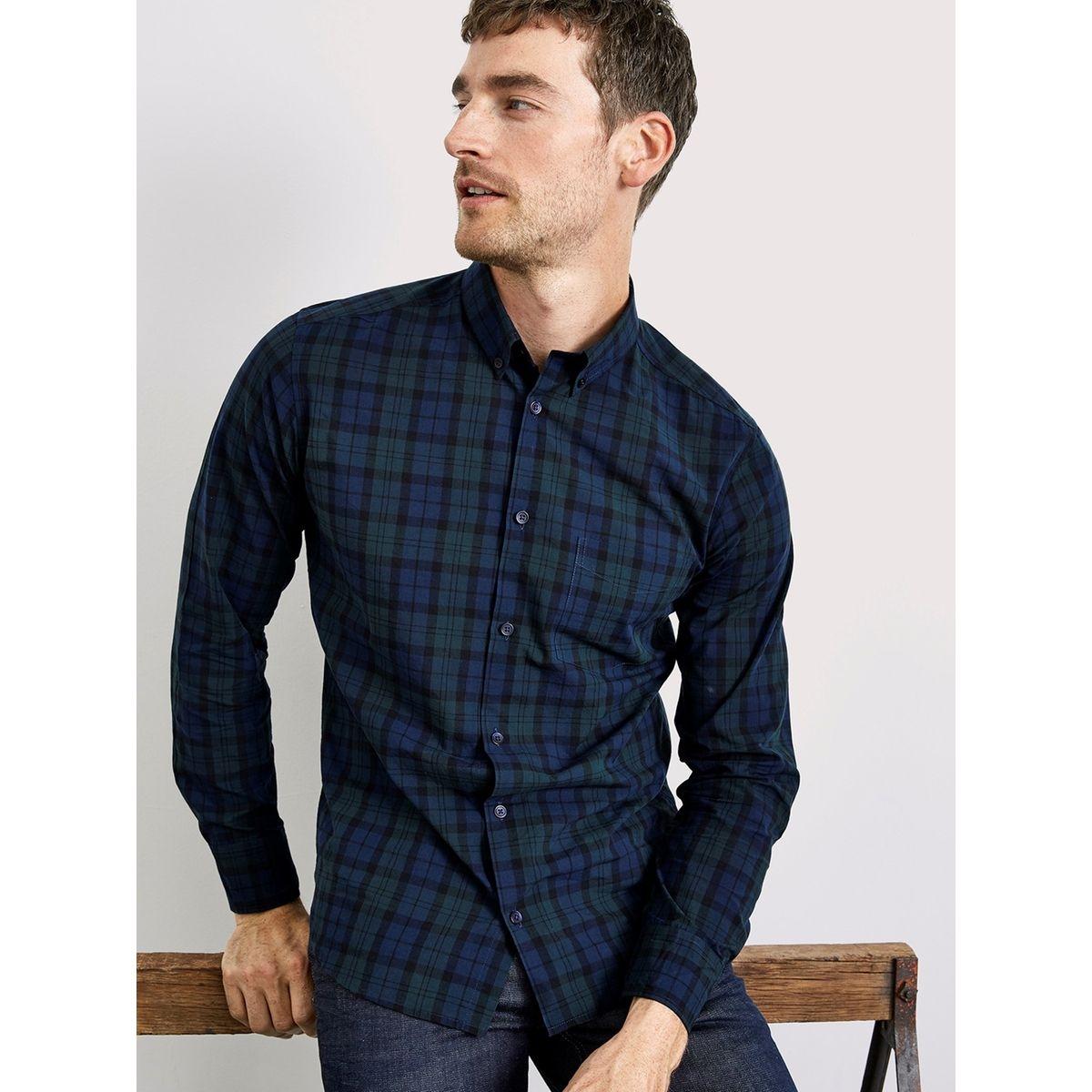 Chemise droite homme à carreaux