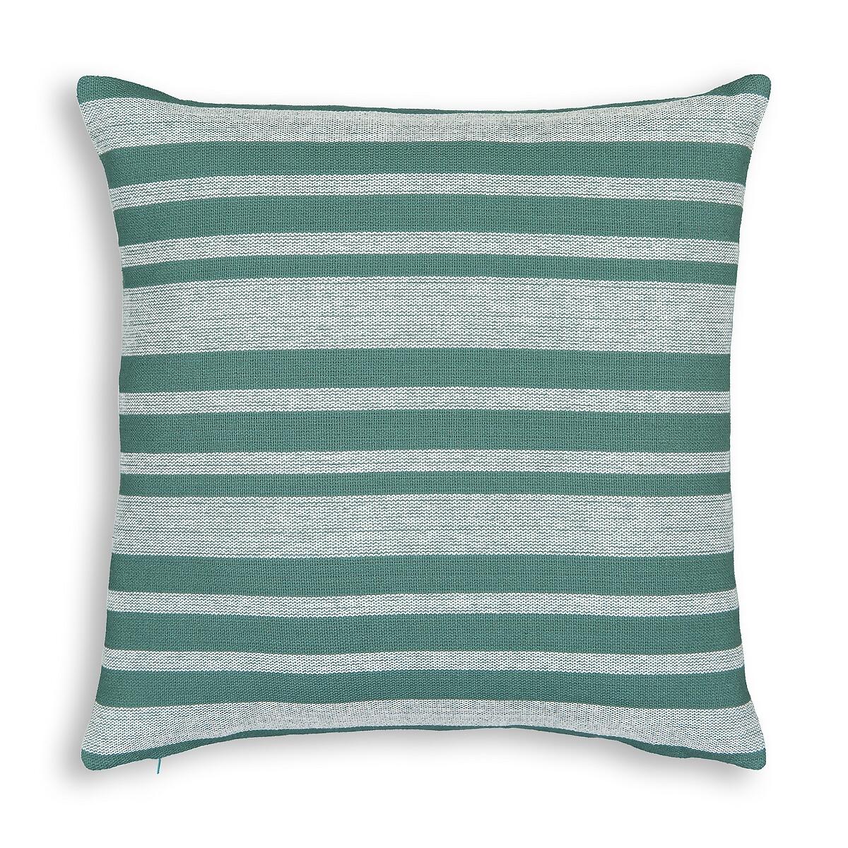 Фото - Чехол LaRedoute На подушку в полоску из 100 хлопка Minille 45 x 45 см зеленый чехол laredoute на подушку валик с отделкой бисером volodia 45 x 45 см зеленый