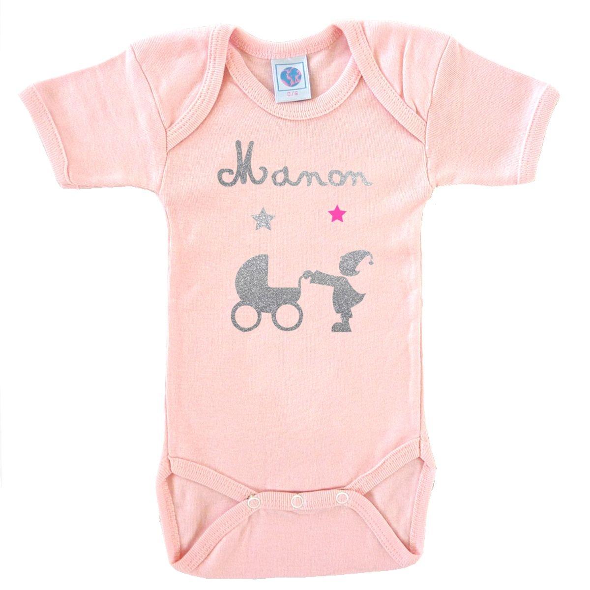 Body bébé prénom en coton manches courtes rose