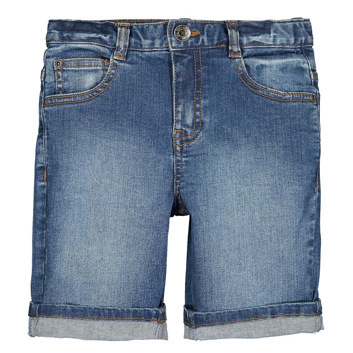 Бермуды LaRedoute Из джинсовой ткани 3-12 лет 6 синий жакет la redoute из джинсовой ткани 3 14 лет 5 лет 108 см синий