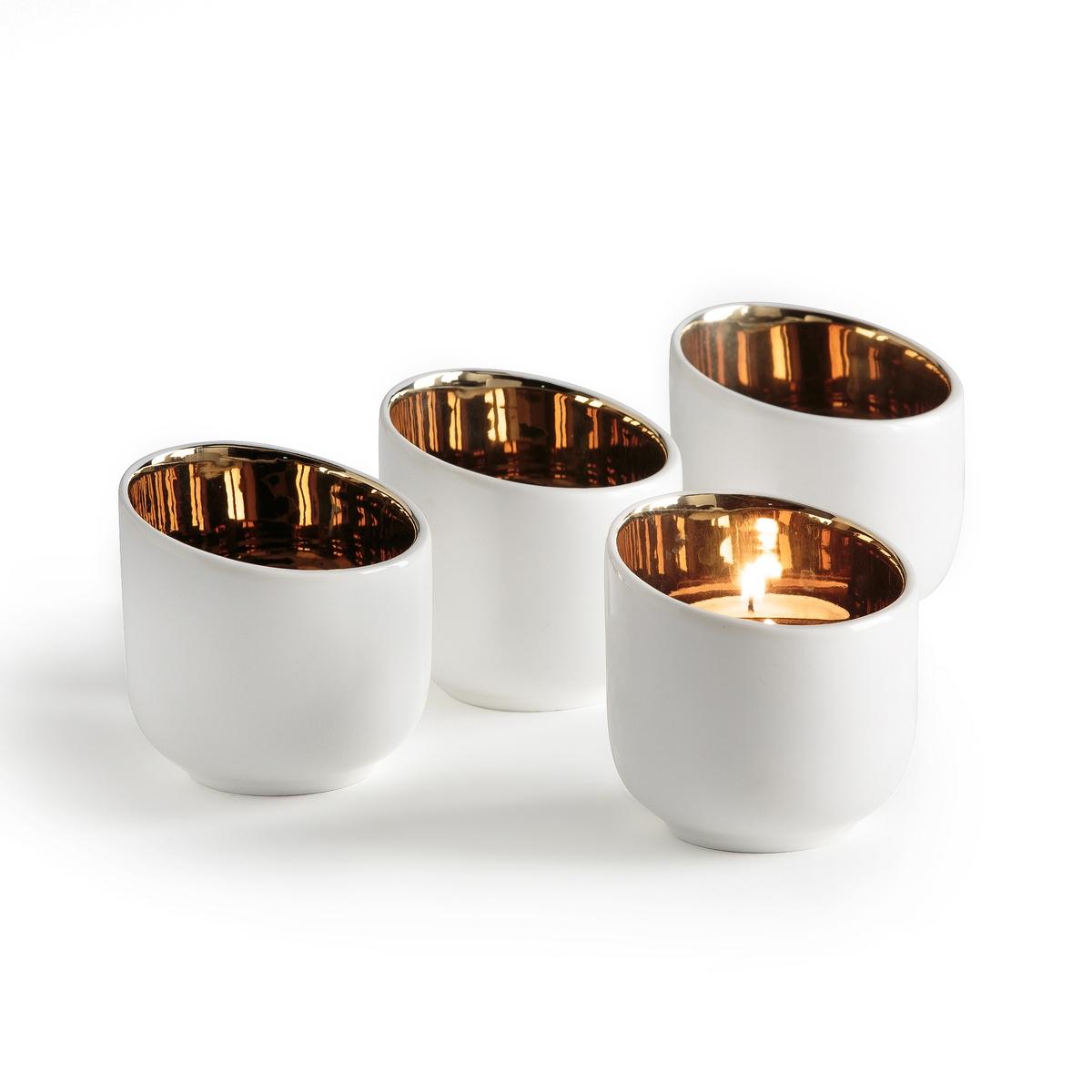 4 светильника из фарфора MiliotoОписание:4 светильника  Milioto . Внутренняя часть медного цвета рассеивает мягкий свет .      Верх из белого матового фарфора с покрытием эмалью  . Для греющих свечей (продаются отдельно)..Размеры : ?7,7 x H5,5 см .<br><br>Цвет: белый/ хром