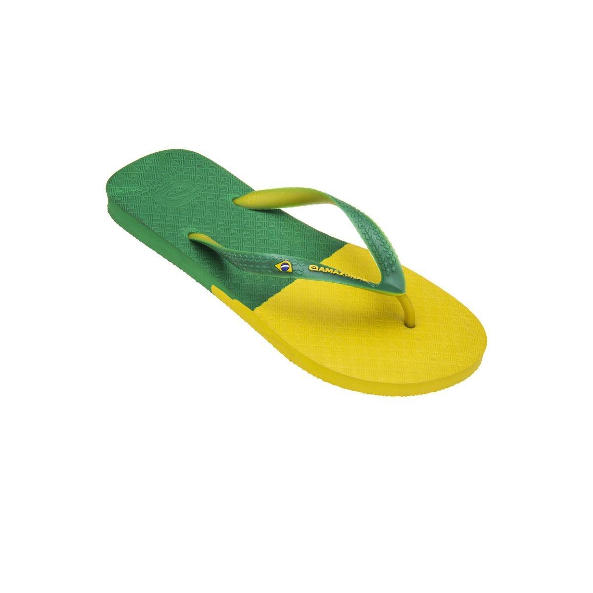 Tongs homme Fun Brasil Vert et Jaune