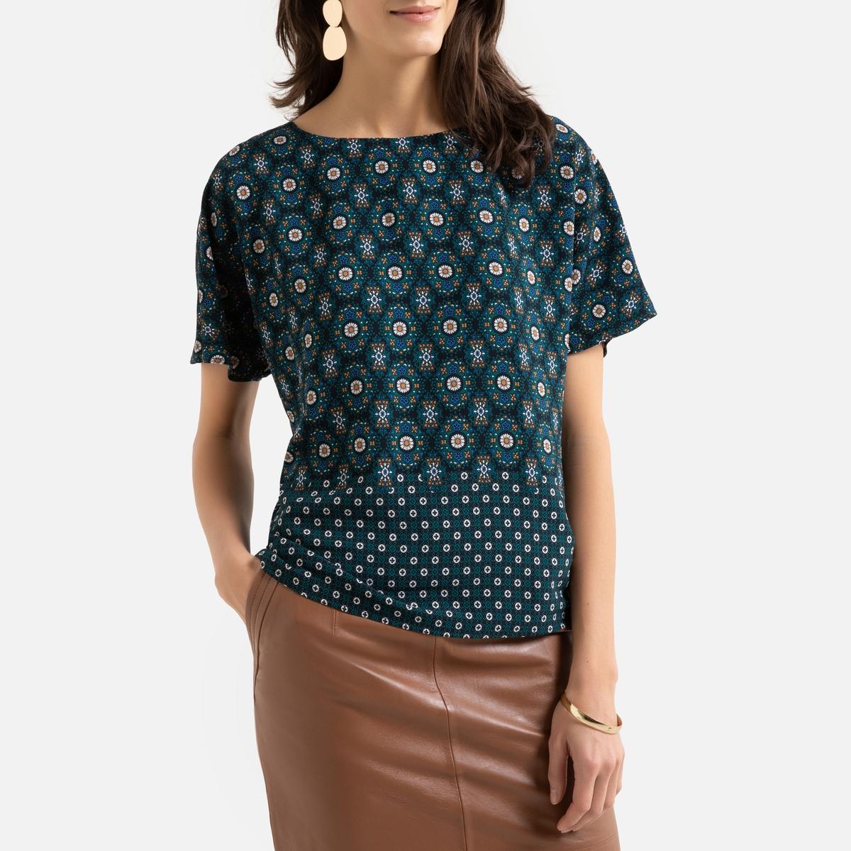 Blusa com gola redonda, estampado gráfico, mangas curtas