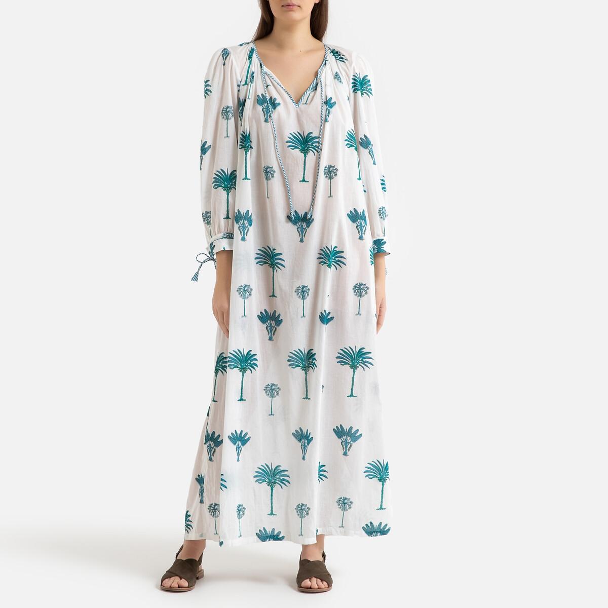 цена Платье La Redoute Длинное объемное с принтом 36 (FR) - 42 (RUS) белый онлайн в 2017 году