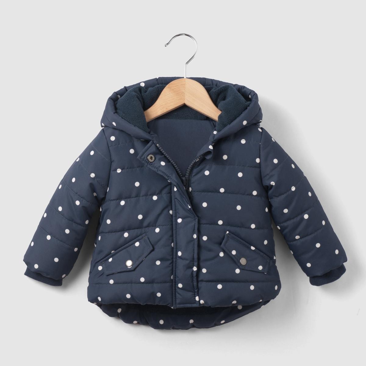 Куртка в горошек на флисовой подкладке, 1 мес. - 3 года от La Redoute Collections