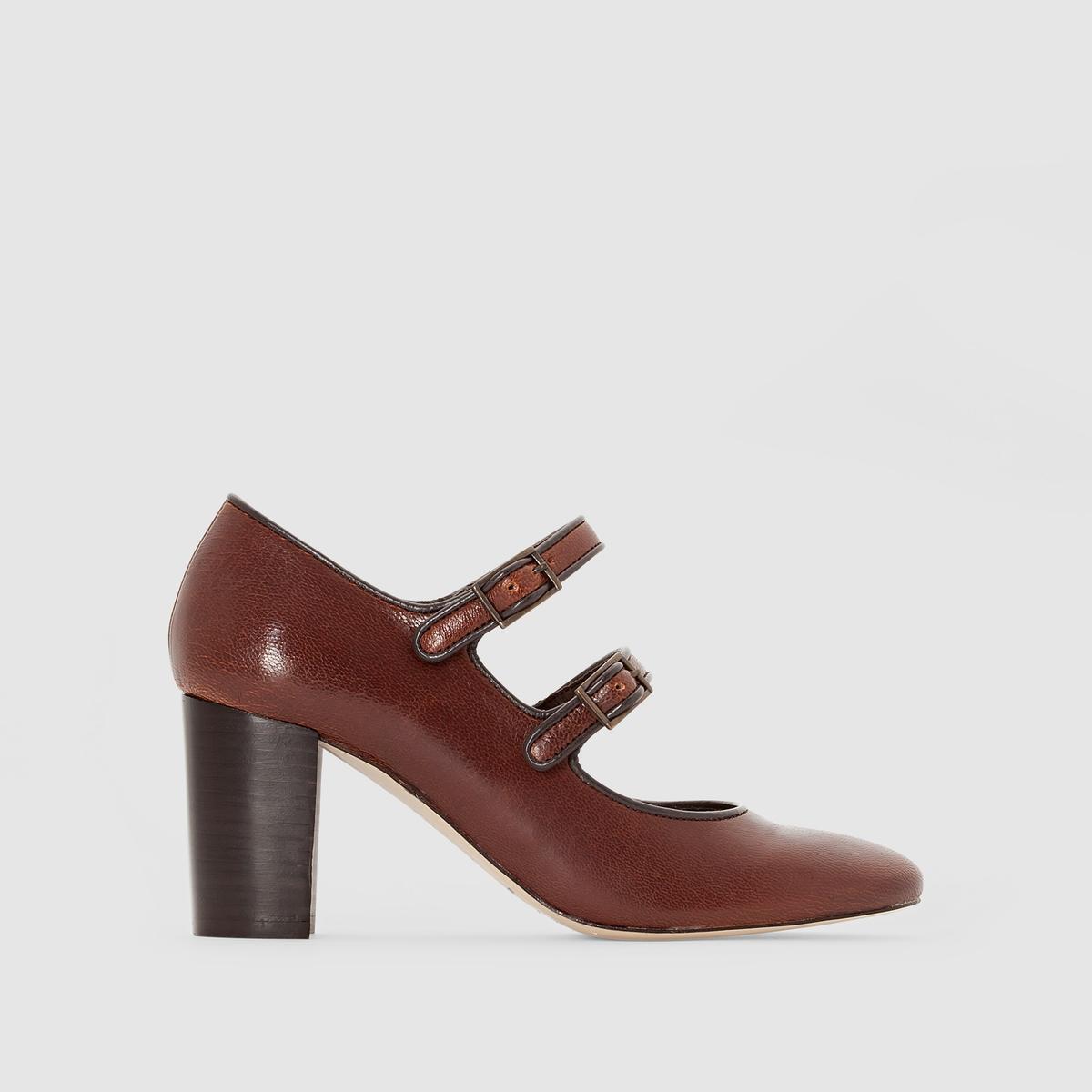 ТуфлиПодкладка: кожа   Стелька: кожа  Подошва: эластомер   Высота каблука: 7 см<br><br>Цвет: коньячный