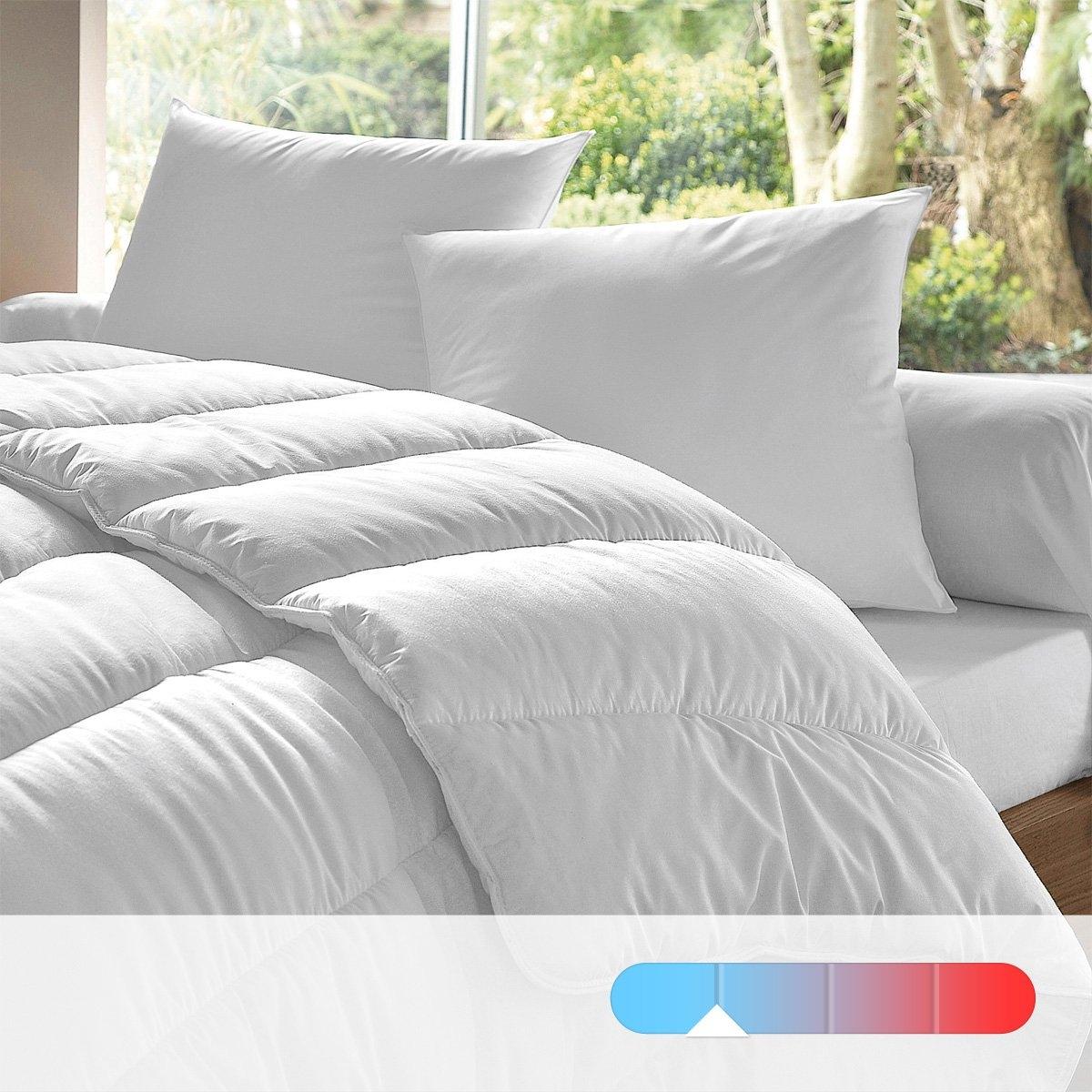 Одеяло из синтетики, 175 г/м?Легкое одеяло из полых силиконизированных волокон полиэстера, 175 г/м?. Обработка против клещей помогает бороться с респираторной аллергией. Идеально подходит для отапливаемых помещений с температурой 20° и более. Чехол из микрофибры, 50% хлопка, 50% полиэстера, 80 г/м?, 68 нитей/см?, 100% полиэстера. Стежка линиями. Отделка кантом и двойной строчкой. Стирка при 60°.<br><br>Цвет: белый<br>Размер: 75 x 120  см