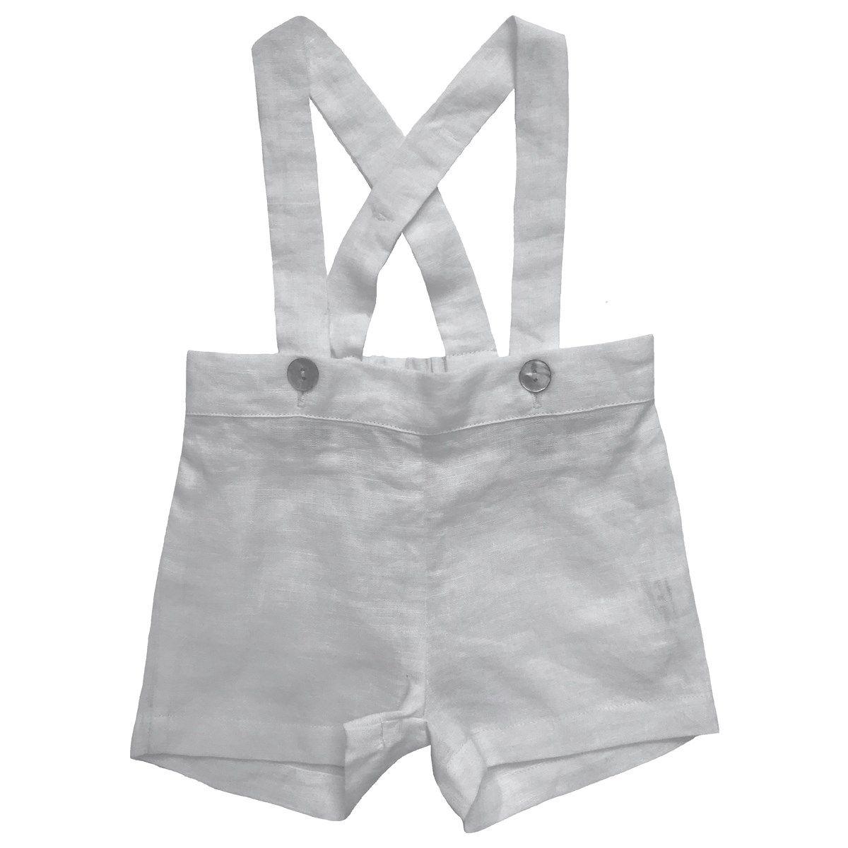 Culotte courte à bretelles en lin
