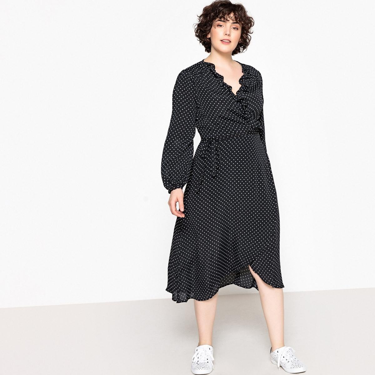 все цены на Платье длинное с запахом с рисунком в горошек онлайн