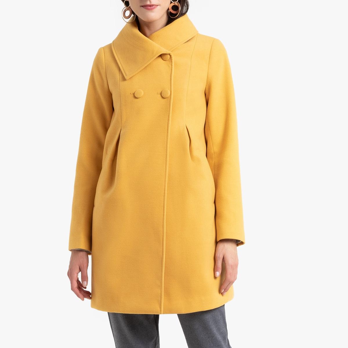 все цены на Пальто La Redoute Средней длины с застежкой на пуговицы 54 (FR) - 60 (RUS) желтый онлайн