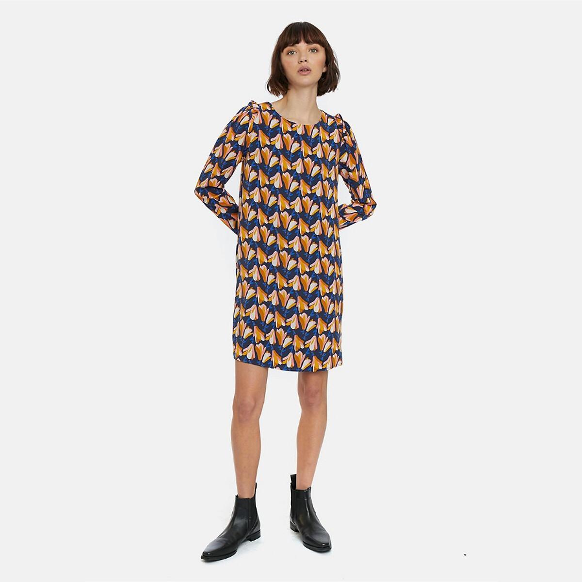 Платье La Redoute Короткое с рисунком и длинными рукавами XL синий платье la redoute короткое расклешенное с длинными рукавами l синий
