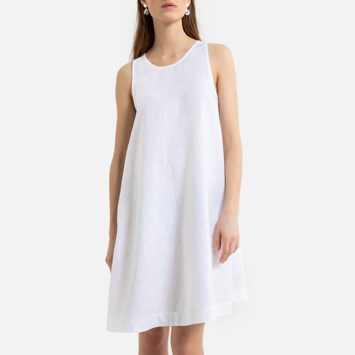 Платье La Redoute Без рукавов расклешенной формы из льна 44 (FR) - 50 (RUS) белый комплект из полотенце для la redoute рук из хлопка и льна nipaly 50 x 100 см белый