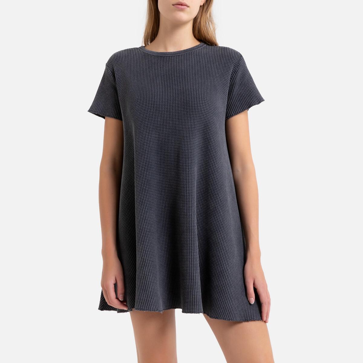 Платье La Redoute Расклешенное с короткими рукавами BOWILOVE XS/S серый гипюровое платье с короткими рукавами steilmann